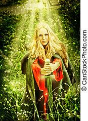 bűbájos, nő, boszorkány, erdő, csoda