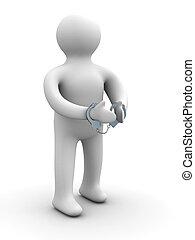 bűnös, láncra vert, alatt, handcuffs., elszigetelt, 3, kép