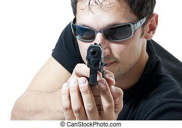bűnös, téma, -, ember, alatt, napszemüveg, noha, pisztoly