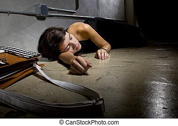 bűncselekmény, áldozat, az utcán, emelet