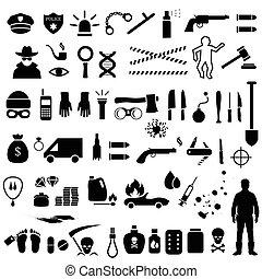 bűncselekmény, vektor, ikonok