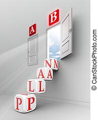 b, ドア, の上, ステップ, 計画, 開いた