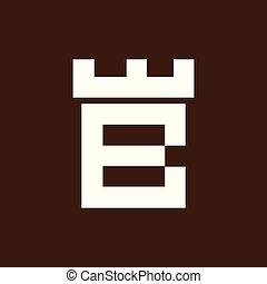 b, 頭文字, ベクトル, テンプレート, ロゴ, 城, 要塞