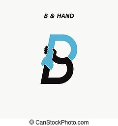b, -, 편지, 떼어내다, 아이콘, &, 손, 로고, 디자인
