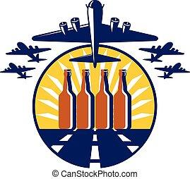 B-17 Heavy Bomber Beer Bottle Circle Retro