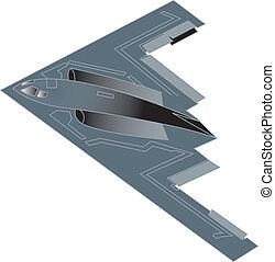 B-2 military bomber airplane jet.
