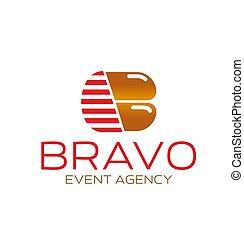 b, agência, vetorial, letra, evento, ícone