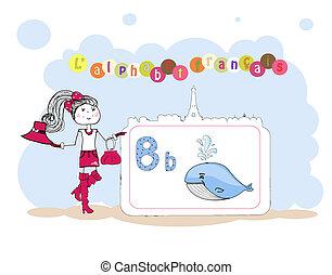 b, alfabet, alfabet, francais., francuski, wektor