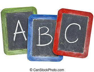 b, alfabeto, c), (a, quadros negros