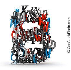 b, alfabeto, cartas, carta
