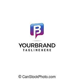 b, alphabet., bavarder, logo, média, social, vecteur, vecteur, lettre, communication, résumé, icône