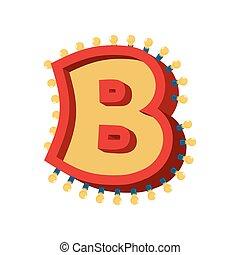 b, alphabet., font., vendange, lampe, étincelant, lumières, incandescent, abc, retro, lettre, ampoule