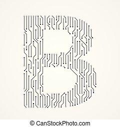 b, alphabet, forme, conception, numérique, ligne