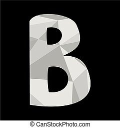 B alphabet letter isolated on black