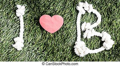 b, amour, cordes, fait, fond, text:, herbe