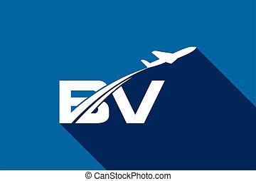 b, aviation, ligne aérienne, voyage, template., avion, logo, v, conception, air, initiale, lettre