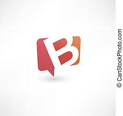 b, baseado, abstratos, letra, bolha, ícone