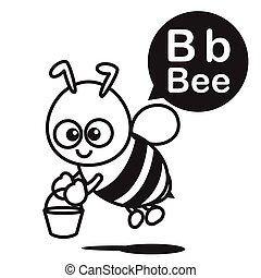 B Bee cartoon and alphabet for children to learning and coloring page vector illustration eps10