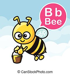 B Bee cartoon color and alphabet for children to learning vector illustration eps10