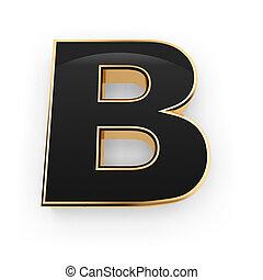 b betű, fém, levél