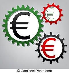 b betű, ikonok, cégtábla., grayish, három, összekapcsolt, fogaskerék-áttétel, vector., euro