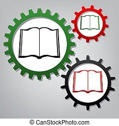 b betű, ikonok, cégtábla., grayish, három, könyv, összekapcsolt, fogaskerék-áttétel, vector.