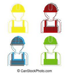 b betű, kék, ikonok, cégtábla., munkás, -eik, sárga, zöld, vector., piros