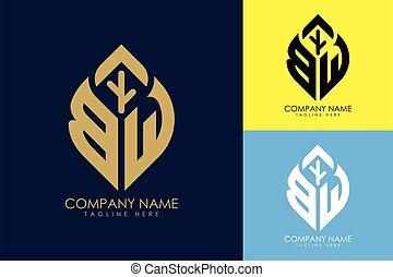 b, blatt, w, abstrakt, logo, zeichen, symbol, abzeichnen, ...