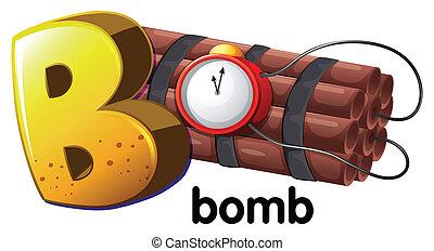 b, bomba, letra