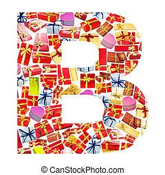 b, brief, -, alphabet, gemacht, von, giftboxes