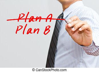 b, business, sur, a, main, stratégie, plan, croisement, changer, écriture