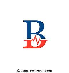 b, cardiogramme, vecteur, logo, initiale, lettre
