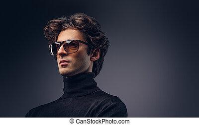 b, cheveux, macho, studio, élégant, portrait, mâle, sensuelles