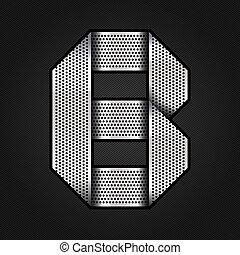 b, chrome, métal, -, lettre, ruban
