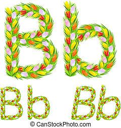 b, chrzcielnica, tulipan, wektor, kwiat, litera, robiony, typ