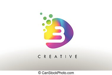 B Colorful Logo Design Shape. Purple Abstract Shape Letter Icon.