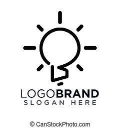 b, créatif, vecteur, lettre, logo, ampoule