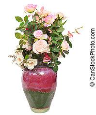 b, cruche, bouquet, céramique, isolé, artificiel, roses, fleurs blanches