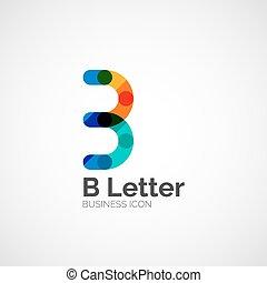b, disegno, minimo, lettera, linea, logotipo