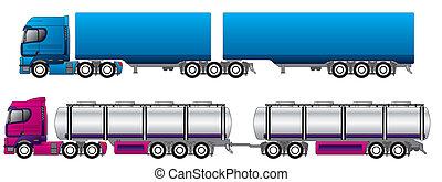 b, doppio, strada, treni