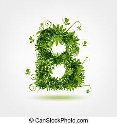 b, eco, desenho, letra, verde, seu