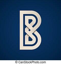 b, eenvoudig, symbool, papier, vector, brief