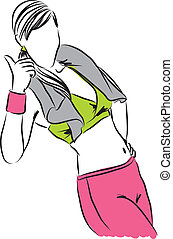 b, entrenamiento, ilustración