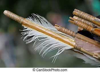 b, estabilización, caza, de madera, plumas, flecha
