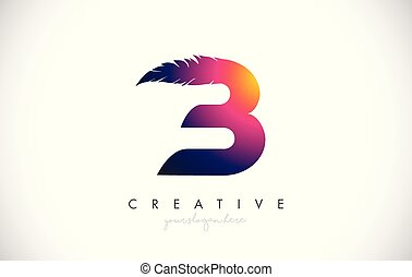 B Feather Letter Logo Icon Design With Feather Feathers Creative Look Vector Illustration