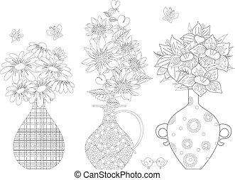 b, fleurs, vases, ornement, coloration, ethnique, agréable, ton