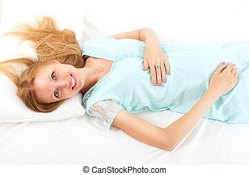 b, folha, dela, mulher, cabeludo, gravidez, loiro, branca, mentindo