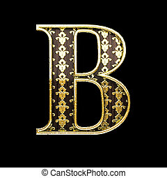 b golden letter 3d illustration