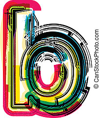 b, grunge, colorido, carta