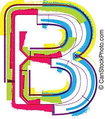 b, grunge, colorito, lettera